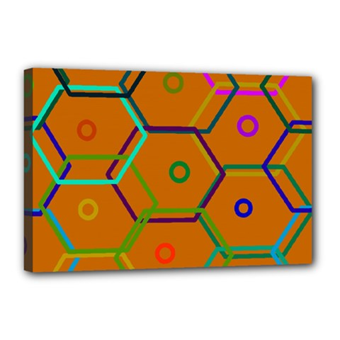Color Bee Hive Color Bee Hive Pattern Canvas 18  x 12
