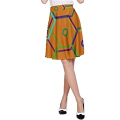 Color Bee Hive Color Bee Hive Pattern A Line Skirt