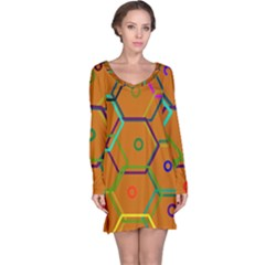 Color Bee Hive Color Bee Hive Pattern Long Sleeve Nightdress