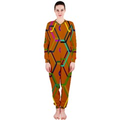 Color Bee Hive Color Bee Hive Pattern Onepiece Jumpsuit (ladies)