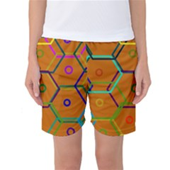 Color Bee Hive Color Bee Hive Pattern Women s Basketball Shorts