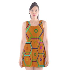 Color Bee Hive Color Bee Hive Pattern Scoop Neck Skater Dress