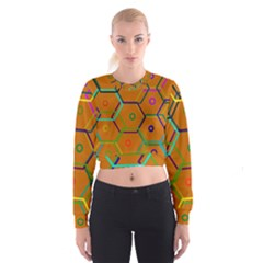 Color Bee Hive Color Bee Hive Pattern Women s Cropped Sweatshirt