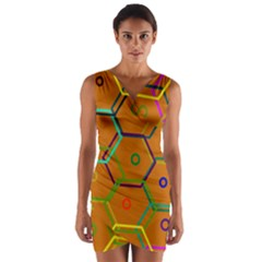 Color Bee Hive Color Bee Hive Pattern Wrap Front Bodycon Dress