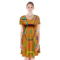 Color Bee Hive Color Bee Hive Pattern Short Sleeve V-neck Flare Dress