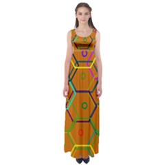 Color Bee Hive Color Bee Hive Pattern Empire Waist Maxi Dress