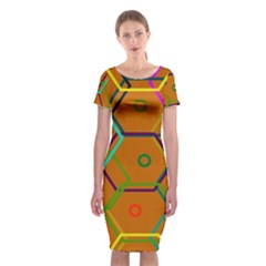 Color Bee Hive Color Bee Hive Pattern Classic Short Sleeve Midi Dress