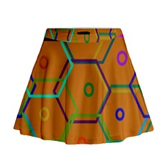 Color Bee Hive Color Bee Hive Pattern Mini Flare Skirt
