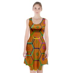 Color Bee Hive Color Bee Hive Pattern Racerback Midi Dress