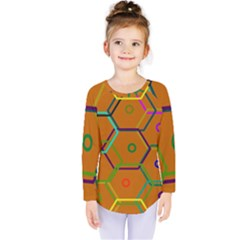 Color Bee Hive Color Bee Hive Pattern Kids  Long Sleeve Tee