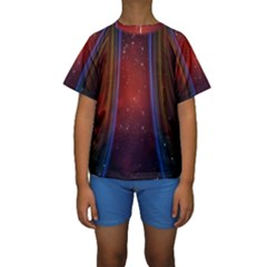Bright Background With Stars And Air Curtains Kids  Short Sleeve Swimwear