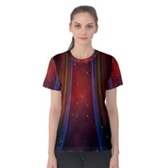 Bright Background With Stars And Air Curtains Women s Cotton Tee