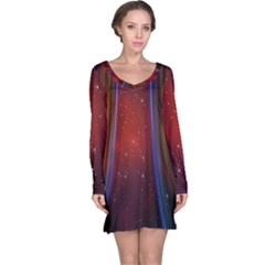 Bright Background With Stars And Air Curtains Long Sleeve Nightdress