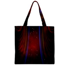 Bright Background With Stars And Air Curtains Zipper Grocery Tote Bag