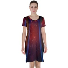 Bright Background With Stars And Air Curtains Short Sleeve Nightdress