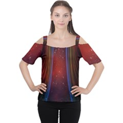 Bright Background With Stars And Air Curtains Women s Cutout Shoulder Tee