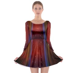 Bright Background With Stars And Air Curtains Long Sleeve Skater Dress