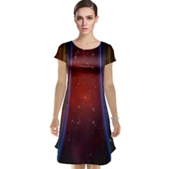 Bright Background With Stars And Air Curtains Cap Sleeve Nightdress