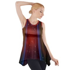 Bright Background With Stars And Air Curtains Side Drop Tank Tunic