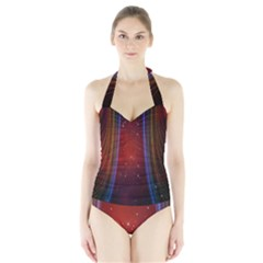Bright Background With Stars And Air Curtains Halter Swimsuit