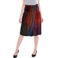 Bright Background With Stars And Air Curtains Midi Beach Skirt