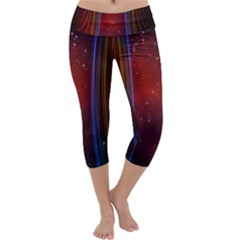 Bright Background With Stars And Air Curtains Capri Yoga Leggings