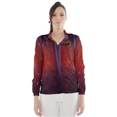 Bright Background With Stars And Air Curtains Wind Breaker (women)