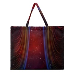 Bright Background With Stars And Air Curtains Zipper Large Tote Bag