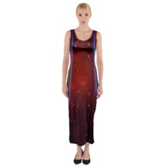 Bright Background With Stars And Air Curtains Fitted Maxi Dress