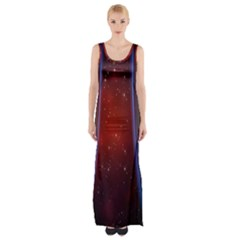 Bright Background With Stars And Air Curtains Maxi Thigh Split Dress