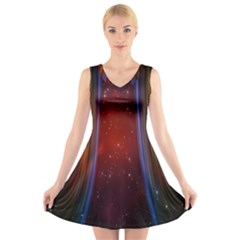 Bright Background With Stars And Air Curtains V Neck Sleeveless Skater Dress