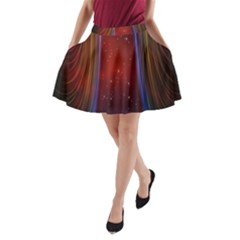 Bright Background With Stars And Air Curtains A-Line Pocket Skirt