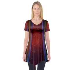 Bright Background With Stars And Air Curtains Short Sleeve Tunic