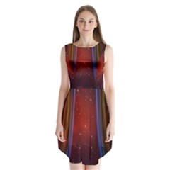Bright Background With Stars And Air Curtains Sleeveless Chiffon Dress