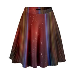 Bright Background With Stars And Air Curtains High Waist Skirt