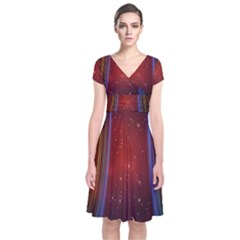 Bright Background With Stars And Air Curtains Short Sleeve Front Wrap Dress
