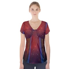 Bright Background With Stars And Air Curtains Short Sleeve Front Detail Top