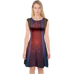 Bright Background With Stars And Air Curtains Capsleeve Midi Dress