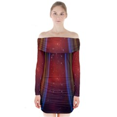 Bright Background With Stars And Air Curtains Long Sleeve Off Shoulder Dress