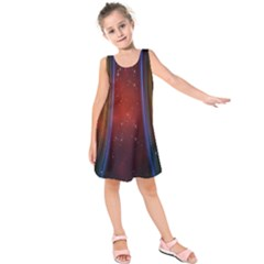 Bright Background With Stars And Air Curtains Kids  Sleeveless Dress