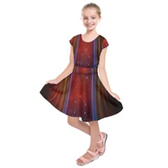 Bright Background With Stars And Air Curtains Kids  Short Sleeve Dress
