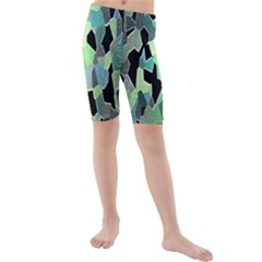 Wallpaper Background With Lighted Pattern Kids  Mid Length Swim Shorts