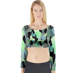 Wallpaper Background With Lighted Pattern Long Sleeve Crop Top