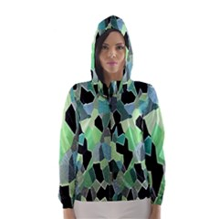 Wallpaper Background With Lighted Pattern Hooded Wind Breaker (women)