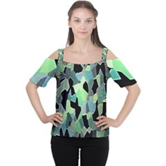 Wallpaper Background With Lighted Pattern Women s Cutout Shoulder Tee