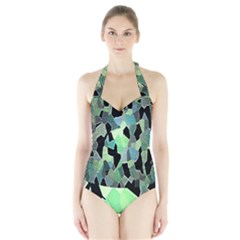 Wallpaper Background With Lighted Pattern Halter Swimsuit