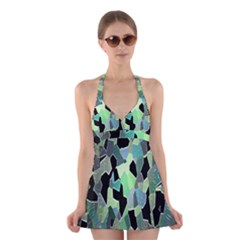 Wallpaper Background With Lighted Pattern Halter Swimsuit Dress