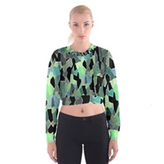 Wallpaper Background With Lighted Pattern Women s Cropped Sweatshirt