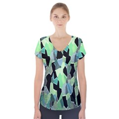 Wallpaper Background With Lighted Pattern Short Sleeve Front Detail Top