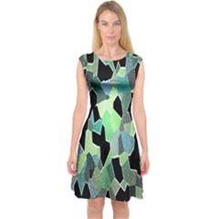 Wallpaper Background With Lighted Pattern Capsleeve Midi Dress